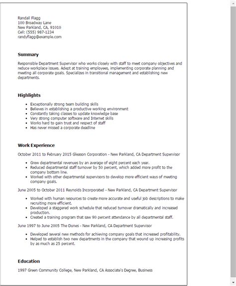 Department Supervisor Cover Letter by Resume For Department Manager 28 Images Resume Sles For Engineer The Best Among The Rest
