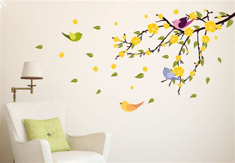 wall decals trees and birds tree branch with flying birds and leaves vinyl decor