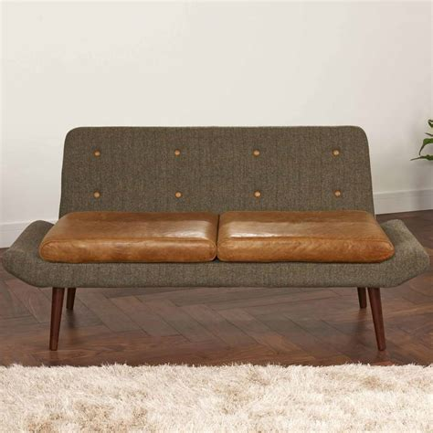 Leather And Tweed Sofa Vintage Leather And Tweed Sofa One Or Two Seater By The