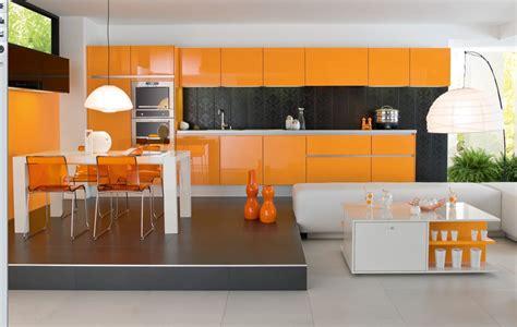 modern house luxury orange interior design kitchen