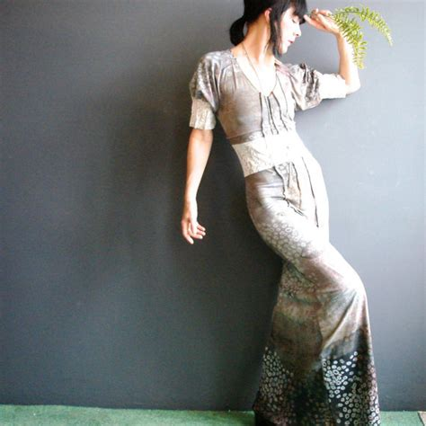 Handmade Maxi Dresses - handmade maxi dress womens lace insert printed ombre