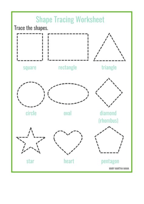 shape tracing templates shape tracing worksheet printable pdf