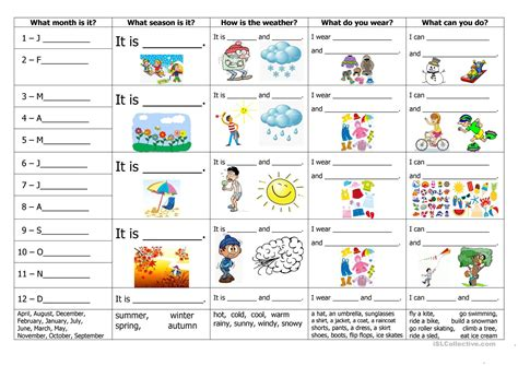 clothes for different seasons worksheet months seasons weather clothes and activities worksheet