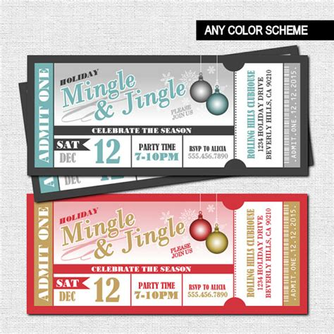 printable tickets for christmas party holiday party ticket invitations christmas mingle and jingle