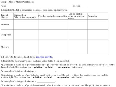 Composition Of Matter Worksheet by Composition Of Matter Worksheet Answers Chapter 9 Deployday