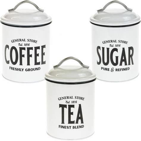 retro set   white metal airtight tea coffee sugar