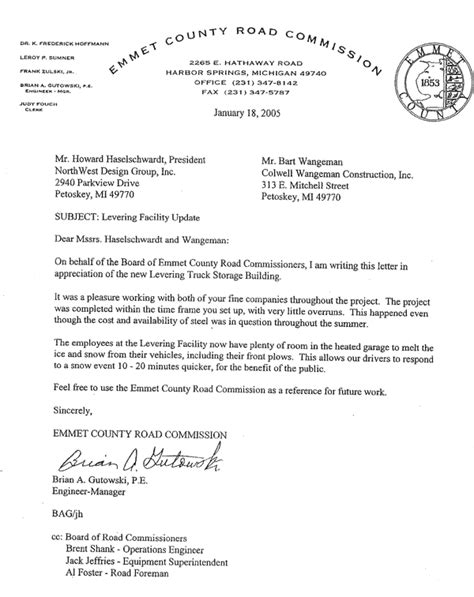 Reference Letter From Employer For Truck Driver Reference Levering Facility Emmet County Road Commission Colwell Wangeman Construction