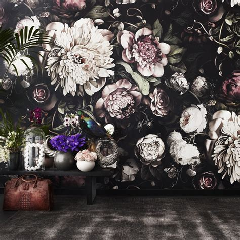 Home Decor Fabric Australia dark floral ii black saturated xl wallpaper by ellie