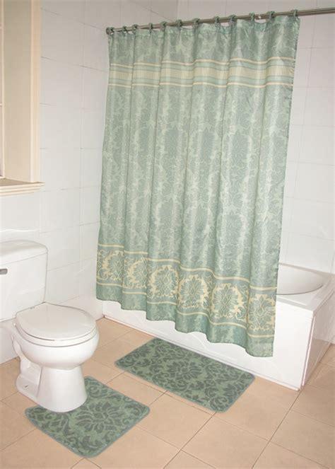 green shower curtain set green floral damask pattern bathroom shower curtain bath