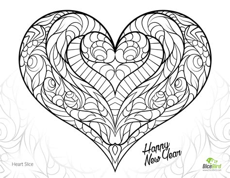 Heart Slice Free Adult Coloring Pages Printable Free Coloring Pages For Adults Printable To Color