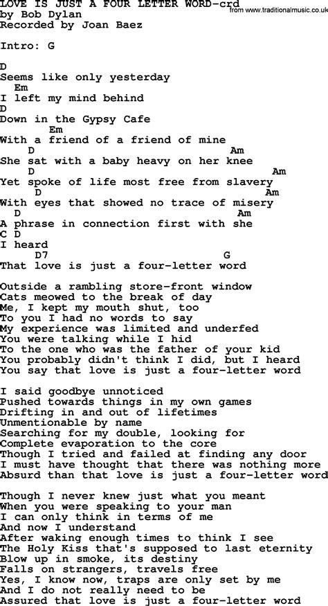 4 Letter Words Pdf joan baez song is just a four letter word lyrics