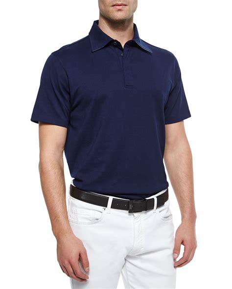 mens sleeve knit polo shirts ermenegildo zegna sleeve knit polo shirt in blue for