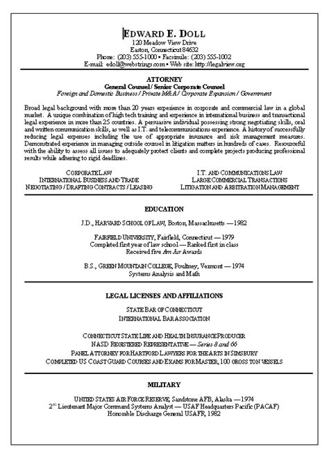 Resume Format Attorney Lawyer Resume Exle