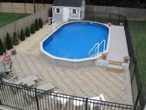Patio Pavers Around Above Ground Pool 15x30 Sharkline Semi Inground Pool With Deck And Pavers