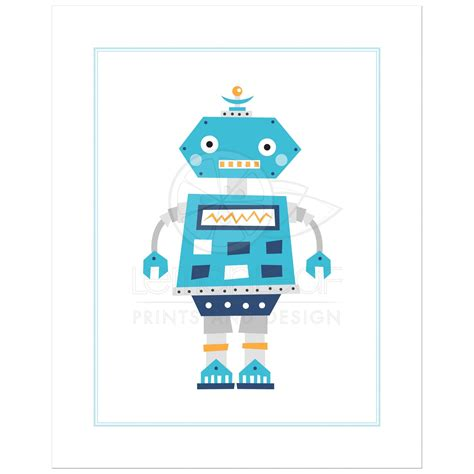 Retro Kitchen Wall Stickers retro robot nursery wall art print
