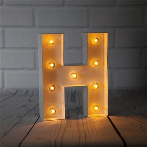 White Marquee Light Letter 'H' LED Metal Sign (8 Inch