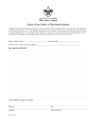 Official Bsa Letterhead Eagle Scout Reference Letter Fill Printable Fillable Blank Pdffiller