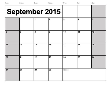 September Calendar Templates   weekly calendar template