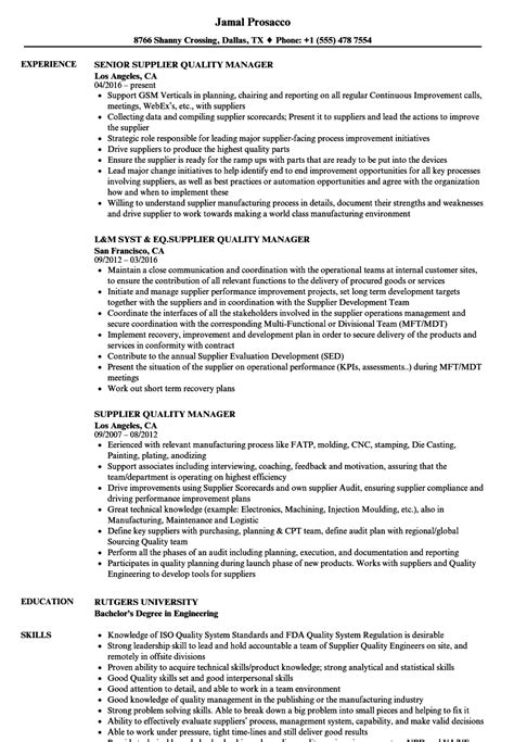 Vendor Development Manager Resume by Supplier Quality Manager Resume Sles Velvet