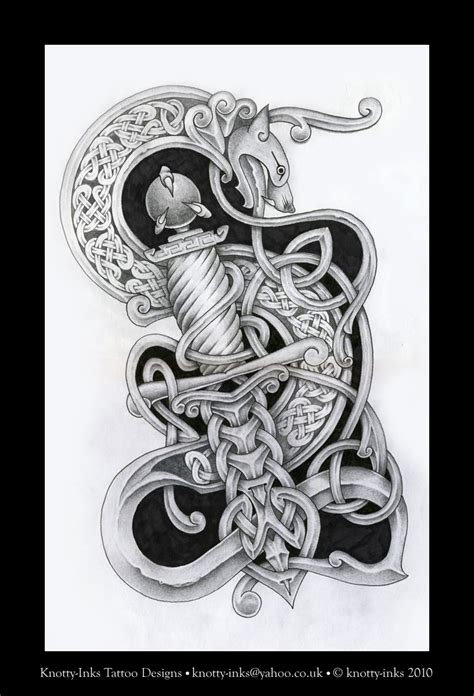dragon and dagger celtic knot by tattoo design on deviantart