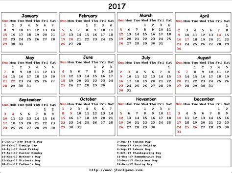 printable calendar year 2017 2017 calendar canada yearly printable calendar