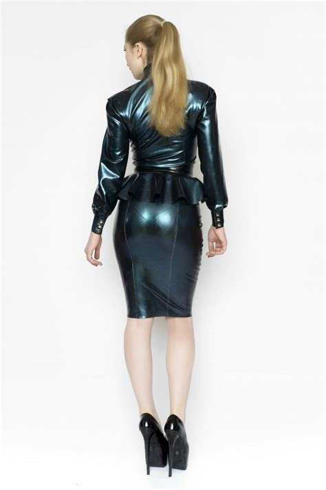 pattern latex dress deluxe pencil skirt yummy gummy