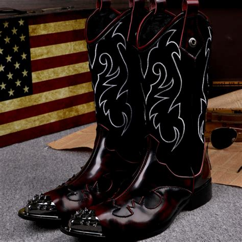 mens thigh high cowboy boots large size style knee high boots genuine