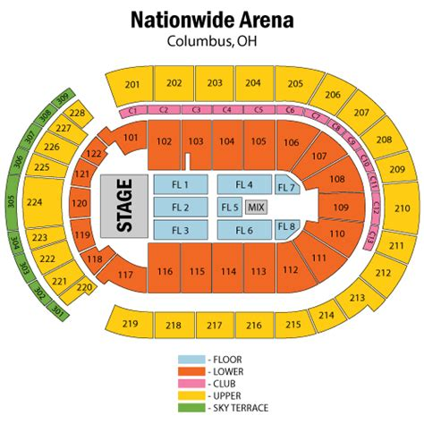 nationwide arena seating chart keith july 19 tickets columbus nationwide arena