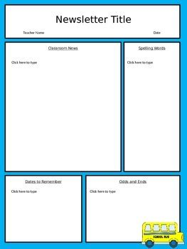 free editable classroom newsletter template power point