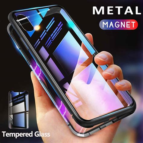 getihu metal magnetic for iphone xr xs max x 8 plus 7 tempered glass back magnet cases