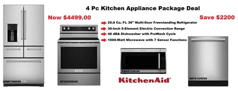 Discount Kitchen Appliance Packages | kitchenaid 4 pc ss appliance package deals mesa az