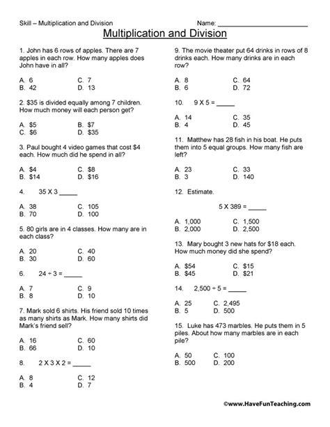 third grade math test practice worksheet