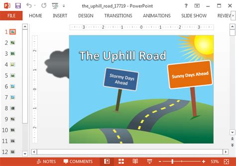 roadmap template for powerpoint with weather animations