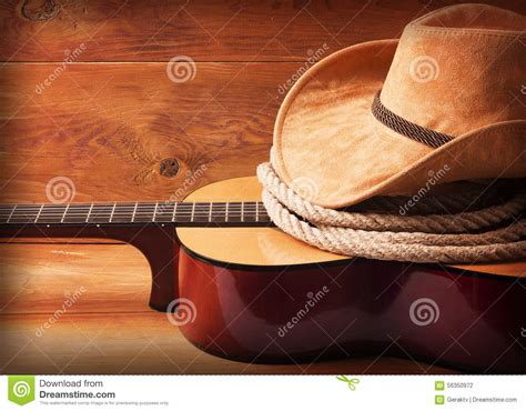 country buffets country picture with guitar and cowboy hat stock