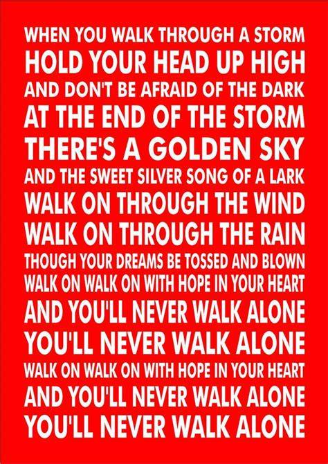 printable lyrics to you ll never walk alone details about personalised favourite football song chant