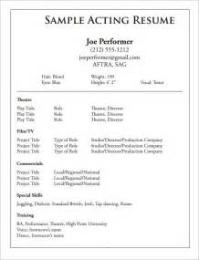 performing arts resume template sle acting cv template 7 documents in pdf