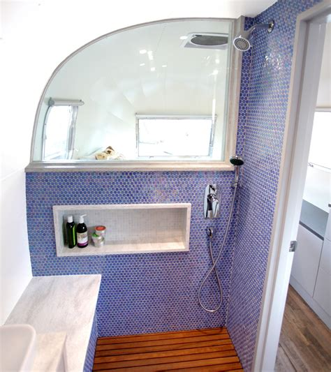 airstream bathrooms luna blue moon trailer airstream bathroom shower wood