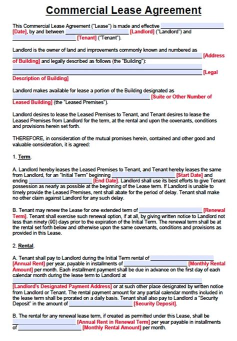 commercial rental lease agreement template free commercial lease agreement form pdf word