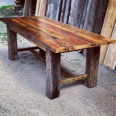 reclaimed wood dining table etsy reclaimed barnwood trestle dining table by echopeakdesign