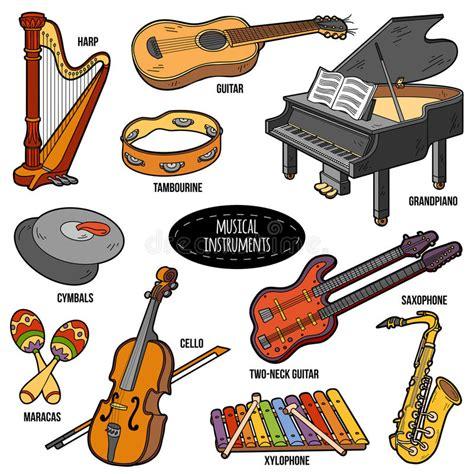 imagenes de instrumentos musicales medievales sistema de color con los instrumentos musicales etiquetas