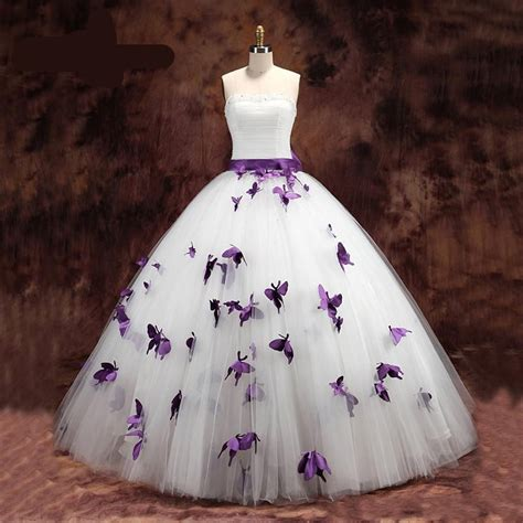 Custom Wedding Dresses Purple And White by Princess Wedding Dresses Purple And White Butterfly Plus