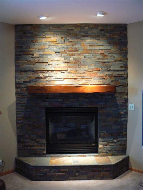 stacked stone corner fireplace fireplace ideas