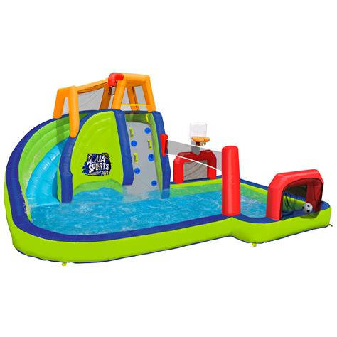 backyard inflatables banzai inflatable aqua sports splash kiddie pool and slide