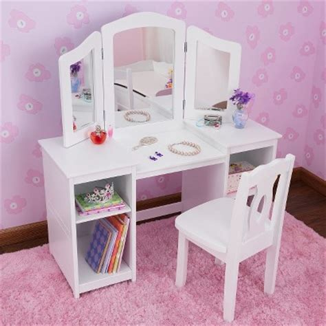 Kid Vanity Table And Chair Kidkraft Deluxe Vanity Table With Chair White Target