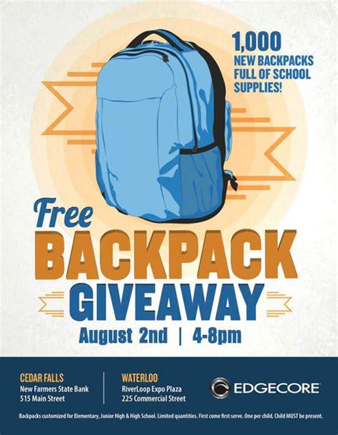 Backpack Giveaway - edgecore s free backpack giveaway details set