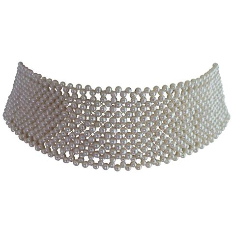 marina j woven pearl choker necklace for sale at 1stdibs