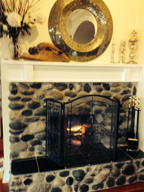 news river rock fireplace on river rock fireplace for the