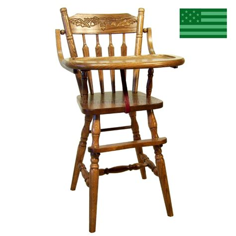 solid oak high chair amish handcrafted acorn post baby high chair solid wood
