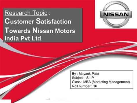 Mba Consulting India Pvt Ltd Okhla by Summer Internship Project Report On Nissan