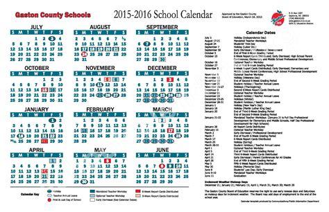 Gaston County Schools Calendar 2015 2016 School Calendar Gaston County Schools